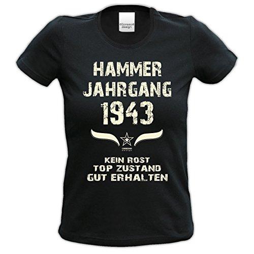 Damen-Kurzarm-T-Shirt Girlieshirt Hammer Jahrgang 1943 Geschenk-Idee zum 74. Geburtstag Geburtstagsgeschenk Farbe: schwarz und rot schwarz-01