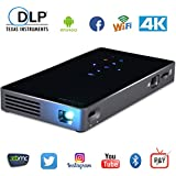 LoongSon TV Box Projector, Smartphone Mini Portable DLP Android Projector Multimedia Home Theater Video HD Projector Suppport 1080P/Wifi/HDMI/Bluetooth/USB/TF Card/Audio Cable