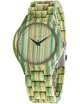 Redear Fashion Natural Handmade Bambus Holz Uhr Quarzwerk Bunte Damenuhr Frauen Armbanduhren, grün