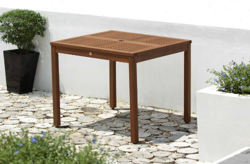 Scancom UK Ltd Chichester FSC Eucalyptus Wood  Outdoor 4 Seater Dining Table With Parasol Hole, Natural