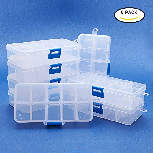 BENECREAT Jewelry Trennwände Box Organizer verstellbar Hohe Qualität Klar Kunststoff Bead Fall Container 8 Pack-10 Grids (Klare Kunststoff-organizer Box)