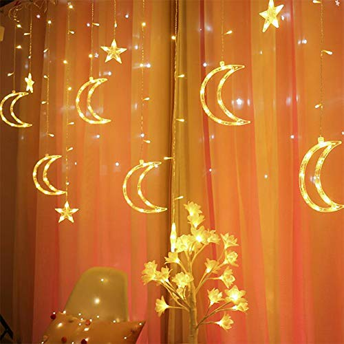 Queta Lichterkette Sternen Mond Lichtervorhang 138 LEDs Led Mond Sternenvorhang mit 8 Lichtermodi als Weihnachten oder Party Fester Deko Lichterkette für Innen & Außen