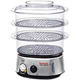 Tefal Simply Invents Food Steamer VC101616, Three Tier, 9 L Capacity, Patented Ultracompact Storage - Black and Chrome