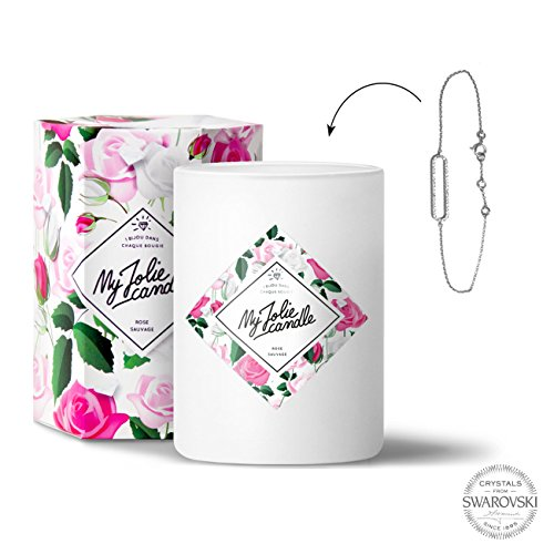 My jolie candle-candela-gioiello, con braccialetto, fragranza rosa selvatica