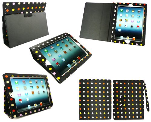 emartbuy Neue iPad 3&Apple iPad 2 Satin Finish Multi-Coloured Polka Dots Multifunktions-/ Multi Angle Wallet/Cover/Stand/Typing-Gehäuse mit magnetischen Schlaf Wake-Sensor -