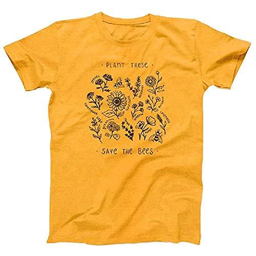 Wildblumen-shirt (SuperCimi Frauen Casual Plant Graphic Print Kurzarm T-Shirt Tops als Geschenk)