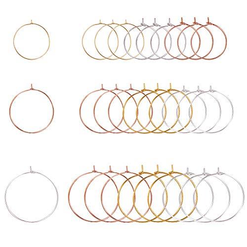 PandaHall Elite 180 Stück 20/25 / 30mm 0.8mm Messing Weinglas Charme Ringe Hoop Ohrringe...