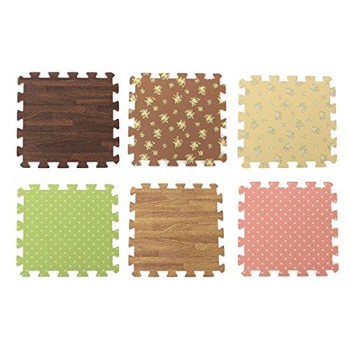 Inovey 9 Pcs Einrasten Schaum Boden Puzzle Work Gymnastikmatte 6 Muster Einfach Sauber Klebstoff Holzfußboden - Dunkles Holz