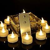 Advocator 12Pcs Fernkerzen, Batterie führte flammenlose Teelichter mit Fernbedienung, warme weiße flackernde Fernbedienung Teelichter für Hochzeit Weihnachten Home Decor