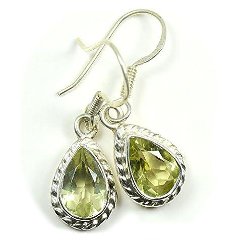CaratYogi Women's Natural Pear Shape Green Peridot Earring 925 Sterling Silver