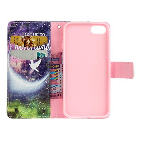 PU Coque Apple iPhone 7 (4.7 pouces), Multifonction Case Wallet Cover Etui en cuir Étui de protection flip Wallet stand Cover avec des fentes de cartes pour ( Apple iPhone 7 (4.7 pouces) ) +Bouchons d 13