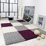 Paco Home Shaggy Teppich Hochflor Langflor Gemustert in Karo Lila Schwarz Weiss, Grösse:190x280 cm