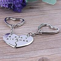 Genenic 2 Love Heart Key Puzzle Key Ring Piece
