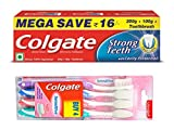 #10: Colgate Strong Teeth Toothpaste - 200 g with 100 g and Sensitive Toothbrush (Pack of 4)