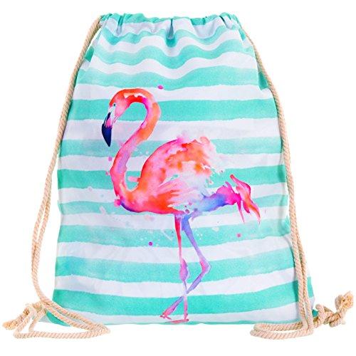 Compagno Turnbeutel Fullprint Rucksack Beutel Tasche Sport-Beutel, Rucksack Farbe:Flamingo -