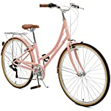 Critical Cycles Damen Beaumont-7 Seven Speed Lady's Urban City Bike, Blush Pink, 44cm