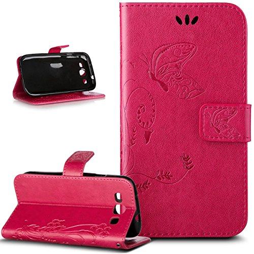 Kompatibel mit Galaxy S3 Neo Hülle,Galaxy S3 Hülle,Prägung Schmetterling Blumen PU Lederhülle Flip Hülle Schale Ständer Etui Karten Slot Wallet Tasche Case Schutzhülle für Galaxy S3 / S3 Neo,Rose Red