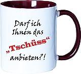 Mister Merchandise Kaffeebecher Tasse Darf ich Ihnen das TSCHÜSS anbieten Teetasse Becher Weiß-Bordeaux