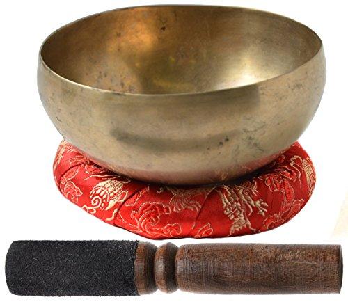 BUDDHAFIGUREN Tibetano canto cuenco Khopre - hecho a mano, 150 - 200 gramos - con accesorios