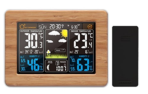 Atomic Wireless Weather Station with Indoor / Outdoor Wireless Sensor - TG671 Bamboo Style Weather Station Alarm Clock With Temperature Alerts, Forecasting by Think Gizmos. (WideBamboo)