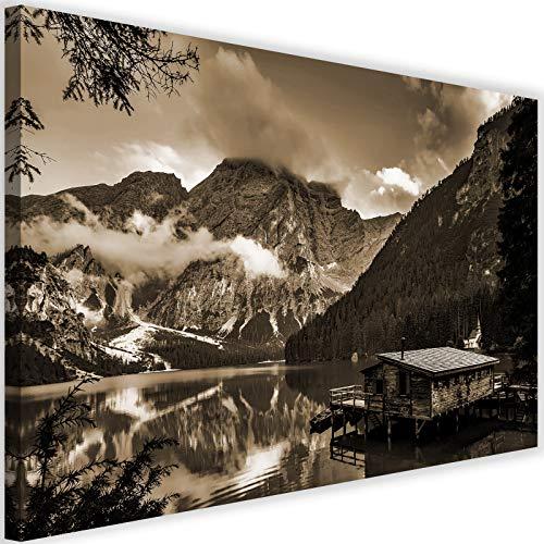 Feeby Bilder Berge 120x80 cm - Leinwandbild 1 Teilig XXL Kunstdruck Hütte See Sepia