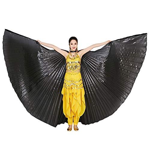 Chejarity Bauchtänzerin Isis Flügel Einfarbig Orientalischen Tanz Dance Fairy Schmetterlings Wings Multi Color Halloween Cosplay Cosplay Kostüm 360 Grad Bühnenauftritte Zubehör (142CM, Schwarz)