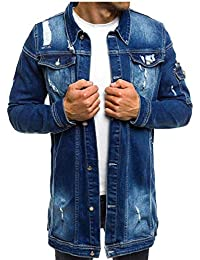 cfzsyyw Men Classic Denim Jacket Loose Ripped Hole Lightweight Jacket