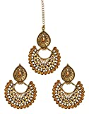 #8: Zaveri Pearls Ethnic Chandbali Earring With Maang Tikka For Women - ZPFK6086