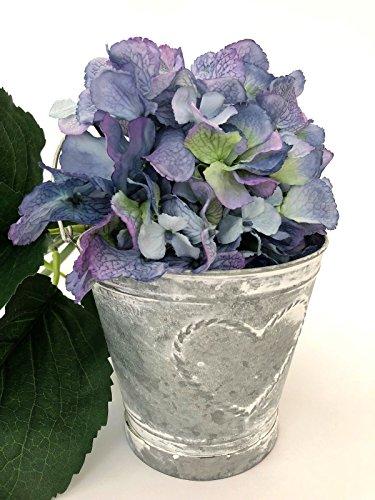 Blumen Tabelle Mittelstücke (Runder Metallpflanzer-Topf-Herz-Weinlese-schäbiger Eimer-rustikaler Hochzeits-Tabellen-Vase)