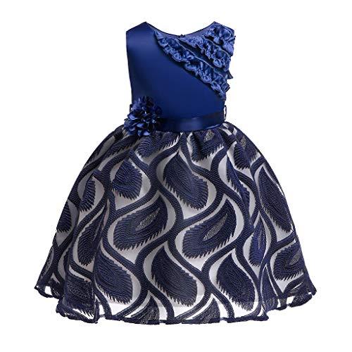 Livoral Mädchen Schönheit Kleid Blume Baby Prinzessin Brautjungfer Kleid Geburtstagsfeier Hochzeitskleid(Marine,140) (Damen Kaufen Strampelanzug)