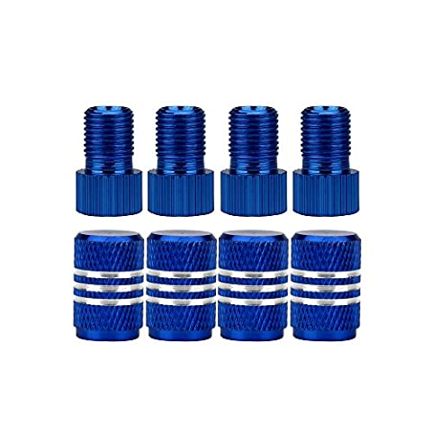 SENZEAL Aluminum Alloy Bicycle French Valve Adapter with Wheel Valve Caps 4sets Blue