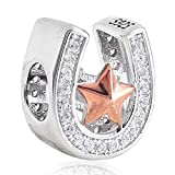 Good Luck Horseshoe Charm with Rose Gold Star 925 Sterling Silver Clear Cubic Zirconia Bead fits European Bracelet