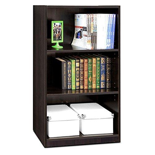 Furinno Laptoptisch Jaya einfach Home 5-Shelf Bücherregal, weiß, Holz, Espresso, 3-Tier
