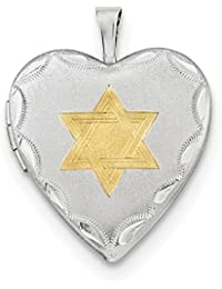 ICE CARATS 925 Sterling Silver 20mm Gold Plated Jewish Jewelry Star Of David Heart Photo Pendant Charm Locket Chain Necklace That Holds Pictures Religious Judaica Fine Jewelry Gift Set For Women Heart
