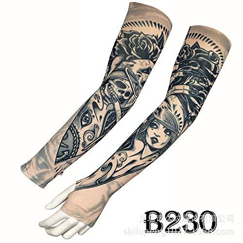 Tzxdbh tattoo ice sleeve protezione solare esterna protezione solare protezione uv ice silk tattoo tattoo b230 ha una circonferenza del braccio di dito di 17-50 cm disponibile