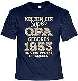 T-Shirt 65 Geburtstag Opa - Geburtstagsshirt Sprüche Jahrgang 1953 : Ich Bin ein Super Opa Geboren 1953 - Geschenk-Shirt Zum 65.Geburtstag Mann/Großvater Gr: L