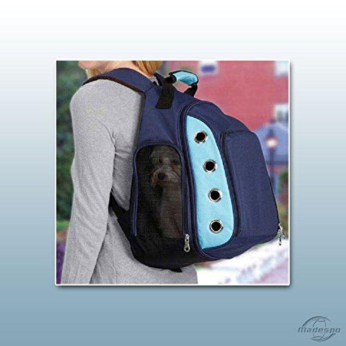Hunderucksack / Schultertasche für Hunde und Katzen / Größe L Blau-Hellblau -