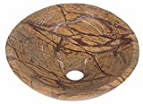 Selva tropical mármol marrón piedra baño lavabo 350 mm de diámetro (b0048)