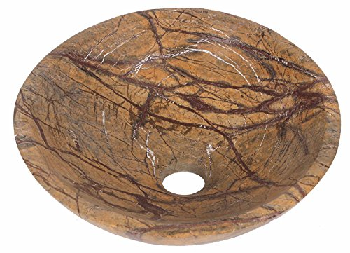Rain Forest Brown Marble Stone Bathroom Wash Basin 300mm diameter (B0049)