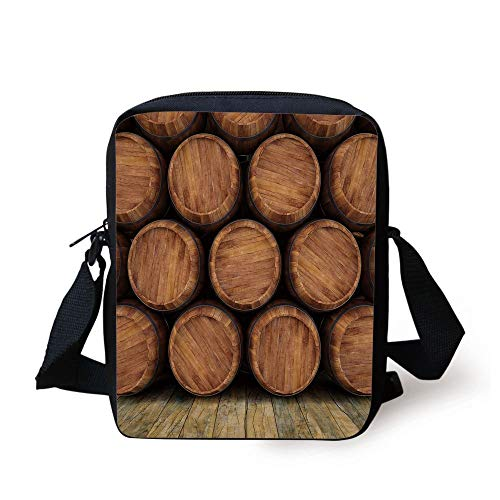 CBBBB Wine,Wall of Wooden Barrels Wine Stack Storage Gallon Antique Vintage Container Rustic Design Decorative,Brown Print Kids Crossbody Messenger Bag Purse -