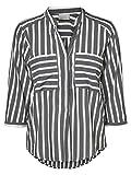 VERO MODA Damen Bluse VMErika Stripe 3/4 Shirt XS-XL Gestreift, Farbe:Schwarz, Größe:XXL