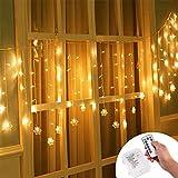 Klighten Tenda Luci LED, Luci cascata, Strisce LED, 96er Led Luci 3.5*0.65m Telecomando, Alimentato da Batteria, Impermeabili IP44, per finestra, porta, patio, giardino, feste, Natale (Bianco Caldo)