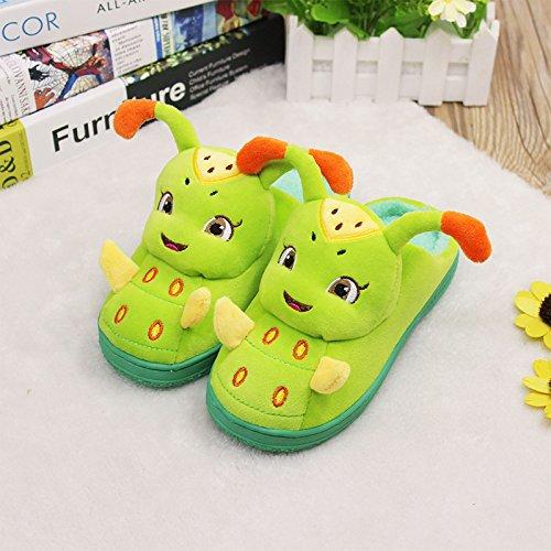 Union Tesco Kinder schöne Caterpillar Winter Plüsch Hausschuhe Grün