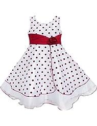 Sunny Fashion Robe Fille Du vin Rouge Point Tulle Partie Reconstitution historique Unique Conception 4-12 ans