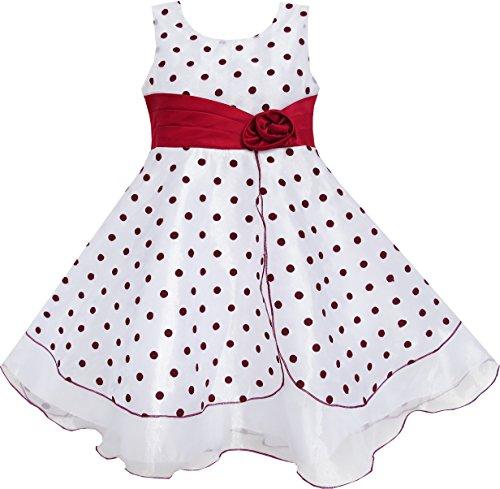Mädchen Kleid Wein Rot Punkt Tüll Festzug Einzigartig Design Gr.128-134