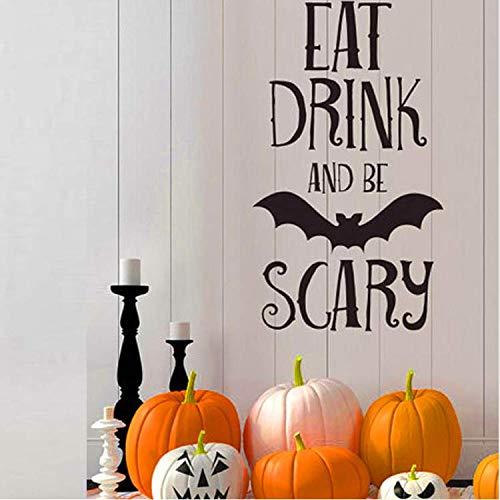 ylckady Essen Trinken Be Scary Quotes Wandaufkleber Halloween Party Decals Startseite Raumdekoration Abnehmbare DIY Wandaufkleber