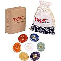 TGS Gems 7Stück Gravur Chakra Stone Palm Stone Kristall Reiki heilende mit eine Tasche preisvergleich bei billige-tabletten.eu