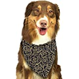 Hipiyoled Gold Flowers Roses Adjustbable Collars Pet Bandana Bibs for Puppy Cats