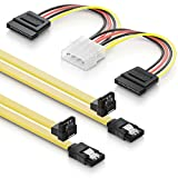 deleyCON SATA Kabel Set 2x 0,5m S-ATA 3 Kabel + 4pin zu 2x SATA Stromadapter - HDD SSD Datenkabel mit Clip - 1x Stecker gerade zu 1x Stecker 90° Grad Winkel