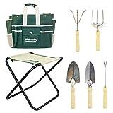 (7in1) GardenHome Gartenwerkzeug Hocker – Klapphocker inklusive 5-teiligem Edelstahl Werkzeug Set – Gratis Tragetasche zur Aufbewahrung der Gartengeräte - rostfrei und sehr robust – perfekte Geschenkidee für Hobby und Profigärtner -